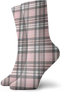 N / A, Pink Grey Plaid Tartan - Calcetines para hombre, mujer, niños, trekking, rendimiento, 30 cm