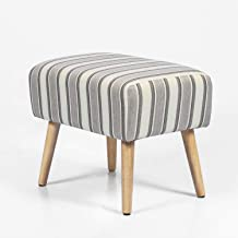Joveco Ottoman Footrest Stool Small Fabric Footstool (Grey Stripe)