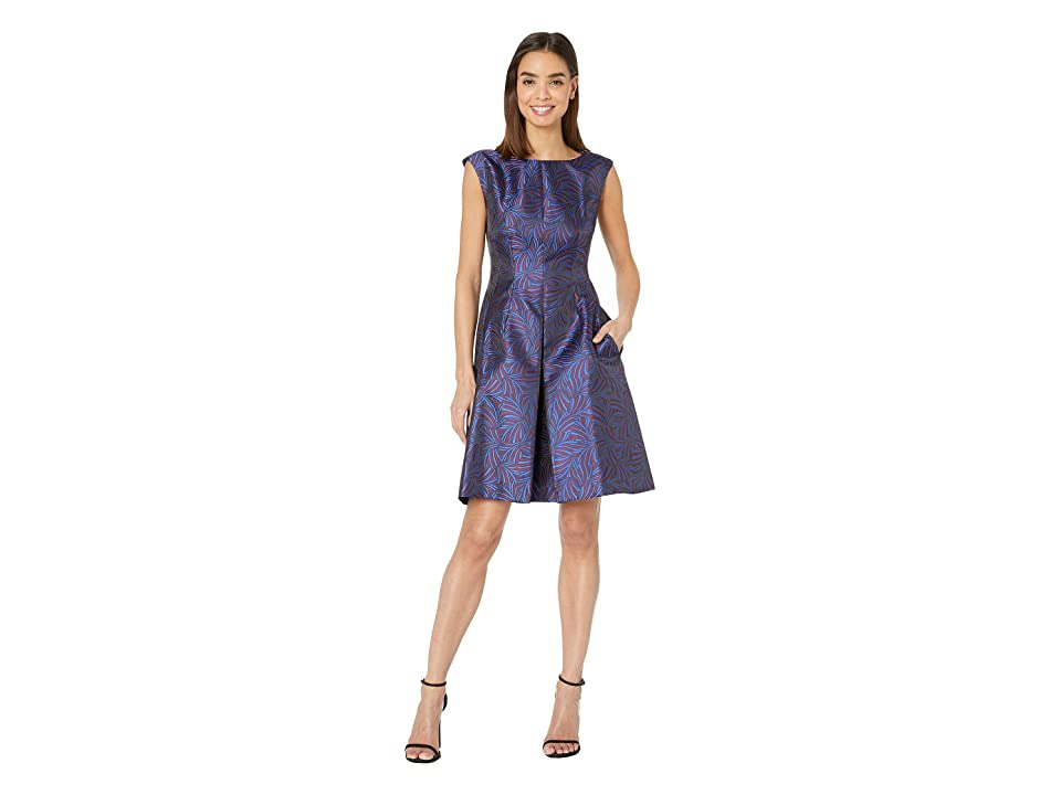 Anne Klein Jacquard Inverted Pleat Fit Flare (Gauguin/Cordovan/Combo) Women