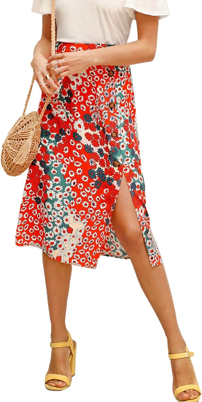 Floerns Women's Boho Floral High Waist Split A Line Midi Skirt