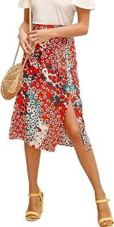 Women's Summer Floral Button Front High Waist Midi Skirt