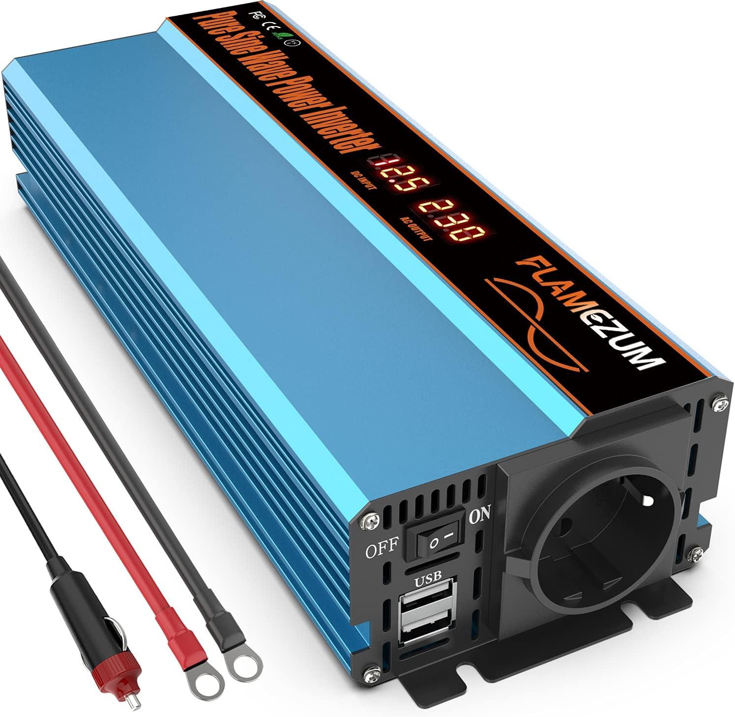 FLAMEZUM Inversor de Corriente de Onda Sinusoidal Pura 1000W Convertidor DC 12V a AC 220V 230V con 2 Puertos USB DC 5V/3.4A &1 Enchufe Europeo para Encendedor de Coche,Coche,Camping ,Camión,RV