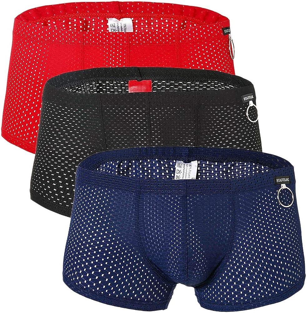 Naturemore Men's Sexy Mesh Underwear Boxer Shorts Low Waist See-Through Sheer Swim Trunks Swimwear