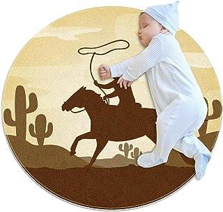 Silhuett cowboy ridning, barn rund matta polyester överkast matta mjuk pedagogisk tvättbar matta barnkammare tipi tält lek...