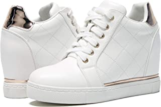 Women's Hidden Wedge Sneakers Shoes White Lace Up Fashion...