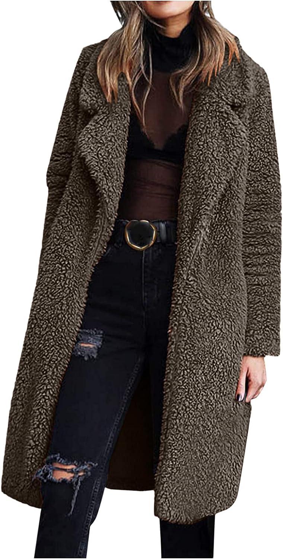 HULKAY Women's Fuzzy Fleece Coats Lapel Open Front Long Cardigan