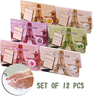 Soap Sheets 12 Packs Portable Soap Paper Disposable Hand Wash Paper Soap Mini Slice Scents Travel Outdoor Use Adult Children