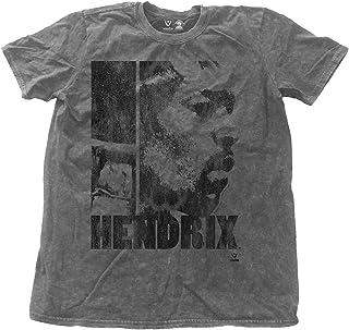 Jimi Hendrix T Shirt Let Me Live Distressed 公式 メンズ 新しい Charcoal Snow Wash