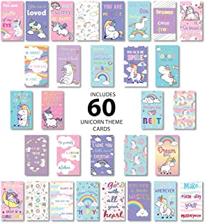 Lunch Box Notes for Kids 60 Pack Unicorn Themed- Motivational Inspirational Cards 30 Unique Designs to Put Love and Fun in...
