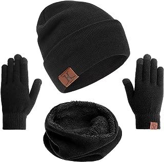 mysuntown Winter Hat Beanie Scarf Gloves 1-3 Pieces Womens Hat and Glove Set Soft Thick Knit Skull Cap for Men Women