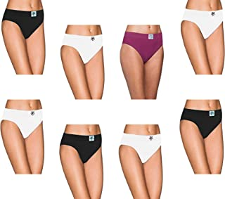 Pepperika Women's Plus Size (Size 3XL) High Middle Waist 100% Soft Breathable Cotton Hipster Brief Underwear Solid Color Full Coverage Hi Cut Panties (Pack of 8)
