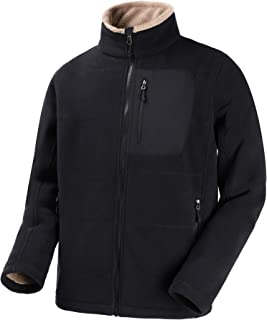 MIER Men's Full Zip Heavyweight Fleece Jacket Thermal Tactical Fleece Outerwear with 5 Pockets, No Pilling, Black