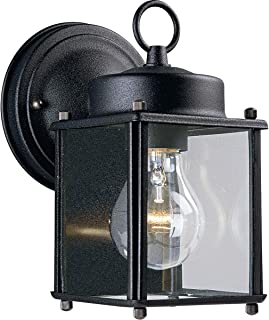 Progress Lighting P5607-31 Traditional One Light Wall Flat Glass Lantern Collection in Black Finish, 4-1/2-Inch Width x 8-Inch Height