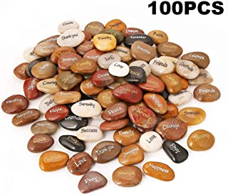 100PCS RockImpact Engraved Rocks Different Words Inspirational Stones Bulk Faith Stones Novelty Gifts Zen Stones Gratitude Rocks Healing Prayer Stones Encouragement Rocks Wholesale, 2