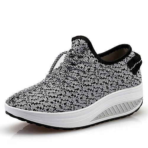 JARLIF Womens Platform Wedges Tennis Walking Sneakers Comfortable Lightweight High Heel Fitness Shoes