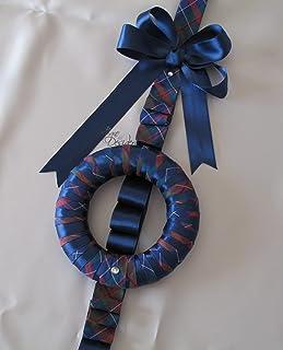 Ghirlanda Fuori Porta Addobbo di Natale con fiocco blu e fantasia scozzese