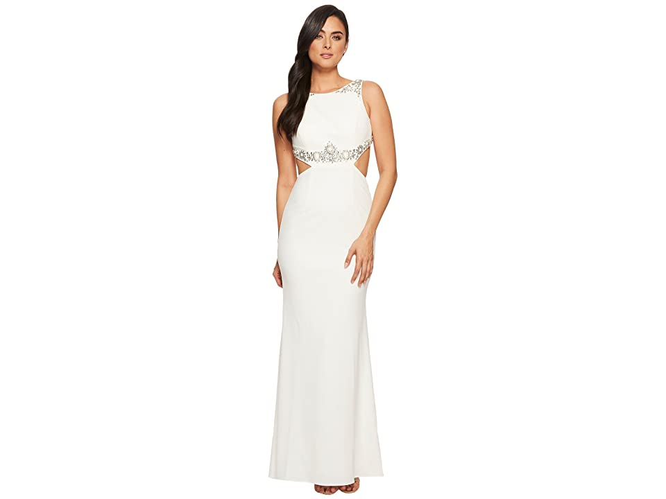 Adrianna Papell Beaded Crepe Long Gown with Embellished Detail (Ivory) Women