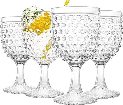 Lawei Set of 4 Glass Goblets Drinkware - 12 Oz Iced Tea Beverage Glasses Premium Footed Glasses Set for Dinner Party, Bar, Restaurant