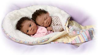Jada And Jayden Twins in Custom Bunting So Truly Real® Lifelike & Realistic Newborn African-American Baby Dolls 13-inches by The Ashton-Drake Galleries