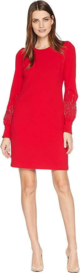Embellished Bubble Sleeve Sheath Dress