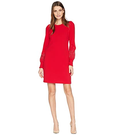 Calvin Klein Embellished Bubble Sleeve Sheath Dress (Red) Women