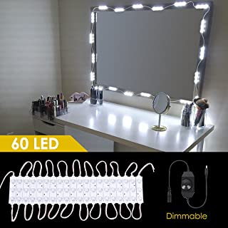 Makeup Vanity Led Mirror Kit,60 Leds 15 Ft Hollywood Dimmable Lighting DIY Vanity Light Kit with Brightness Dimmer & Ul Listed Adapter for Bathroom Makeup Dressing Table (Mirror Not Included)