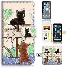 (for Google Pixel 3) Flip Wallet Case Cover & Screen Protector Bundle - A1944 Cartoon Cat
