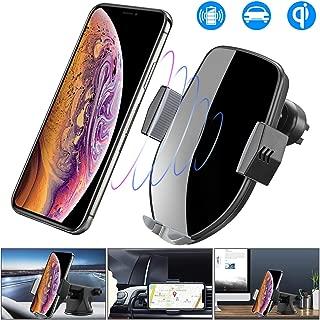 車載Qi ワイヤレス充電器 車載 ホルダー-10W/7.5W急速ワイヤレス充電器車載スマホホルダー 360度回転 粘着式&吹き出し口2種類取り付 iPhone X/XR/XS/XSMAX/8/8 Plus/Galaxy S9/S8/S8 Plus/S7/S7 Edge/S6/S6 Edge/Note 8/Note 5/Nexus 5/6等に適用ワイヤレス充電機種に対応(グレー)