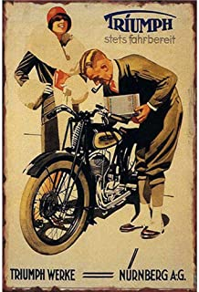 Easy Painter Man Cave Motorcycle Retro Metal Tin Signs Vintage Cafe Pub Garage Bar Triumph Signs and Posters - 20X30Cm