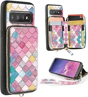 ZVE Samsung Galaxy S10+ Case Galaxy S10 Plus Wallet Case with Credit Card Holder Zipper Wallet Case Handbag Purse Print Case Cover for Samsung Galaxy S10 Plus (2019), 6.4 inch - Mermaid Wall