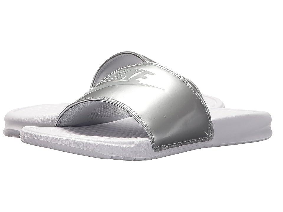 Nike Benassi JDI Slide (White/Wolf Grey/Metallic Silver) Women
