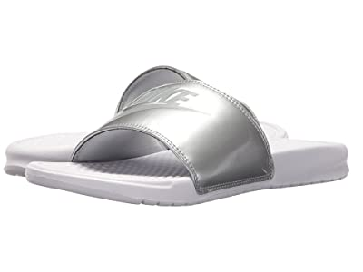 Nike Benassi JDI Slide (White/Wolf Grey/Metallic Silver) Women