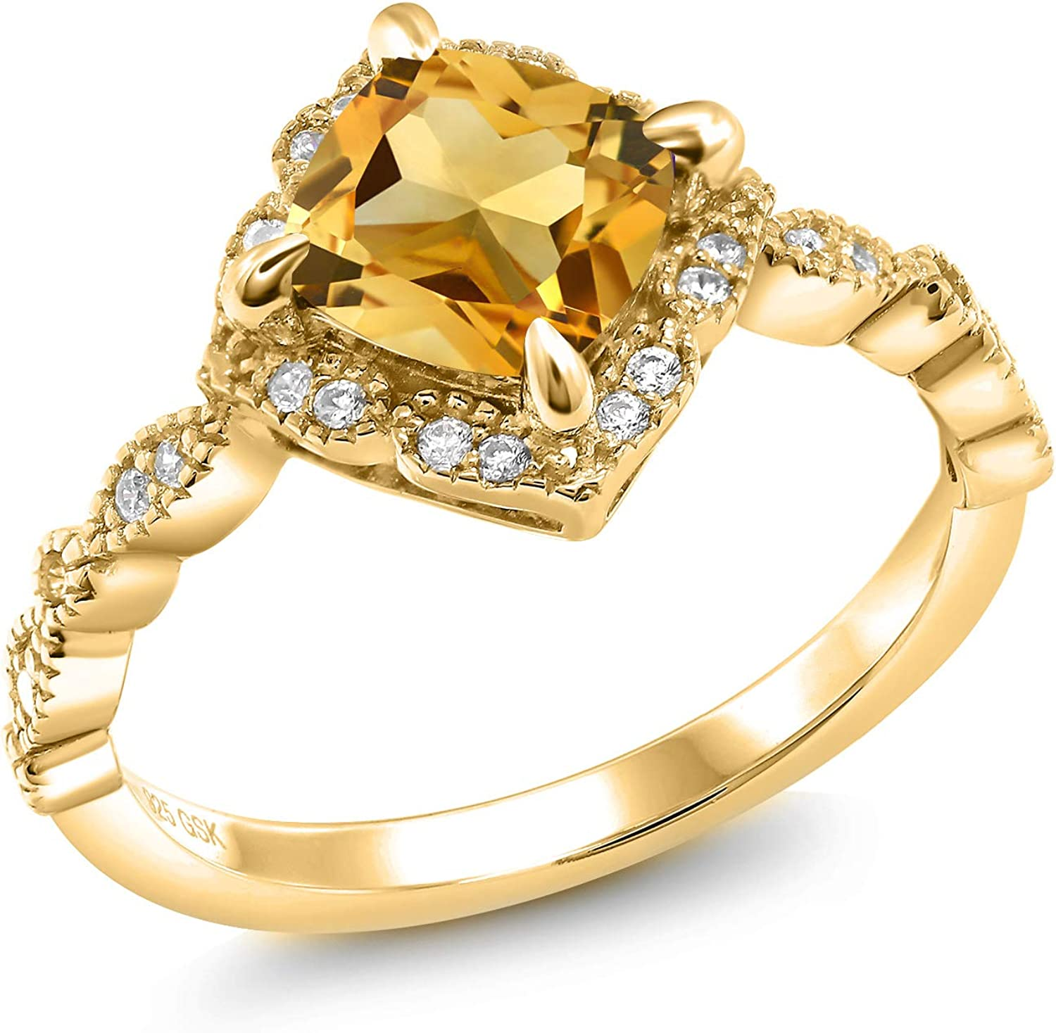 Gem Stone King 18K Yellow Silver Japan Maker New Wome Ranking integrated 1st place Gold Citrine Plated