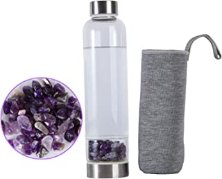 JIC Gem Crystal Water Bottle Gemstone Infused Wellness Energy Gems Stone Water Bottle with Amethyst for Energy and Healing...