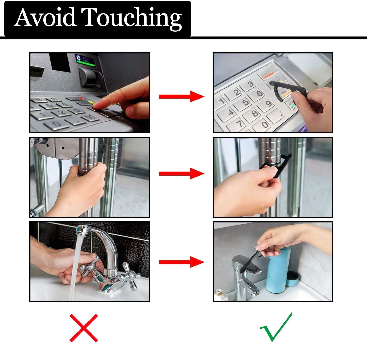 3Pack Anti Touch Door Opener Tool,Non Contact Door Opener with Enclosed Stylus,Jabcina Hands Free EDC Button Pusher to Keep Safe and Hygiene in Public Black,Silver,Golden