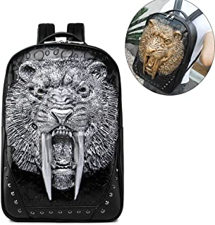 Retro 3D Stereo Animal Leopard Head Backpack,PU Leather Rivet Punk Rock Bag Casual Travel Laptop Backpack Fashion Bookbag,Silver