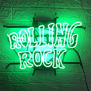 Neon Qiong Neon Sign Factory 17X14 Inches Real Glass Neon Sign Light for Beer Bar Pub Garage Room Rolling Rock.