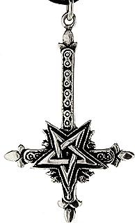 Kesheng Halskette mit Anh/änger Kreuz Satan Silber Schwarz Christentum Schmuck