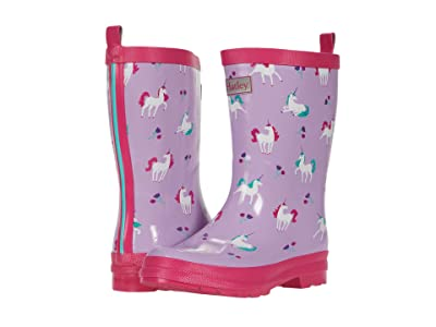Hatley Kids Playful Unicorns Shiny Rain Boots (Toddler/Little Kid) (Purple) Girl