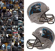 2017 Carolina Panthers Team Autographed Hand Signed Riddell Full Size Football Helmet with 27 Signatures Total and Exact Proof Photos of Signing and COA, Ron Rivera, Luke Kuechly, Devin Funchess