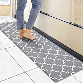 """WiseLife Kitchen Mat Cushioned Anti-Fatigue Kitchen Rug, 17.3""""x 59"""" Waterproof Non-Slip Kitchen Mats and Rugs Heavy Duty PVC Ergonomic Comfort Mat for Kitchen, Floor Home, Office, Sink, Laundry, Grey"""