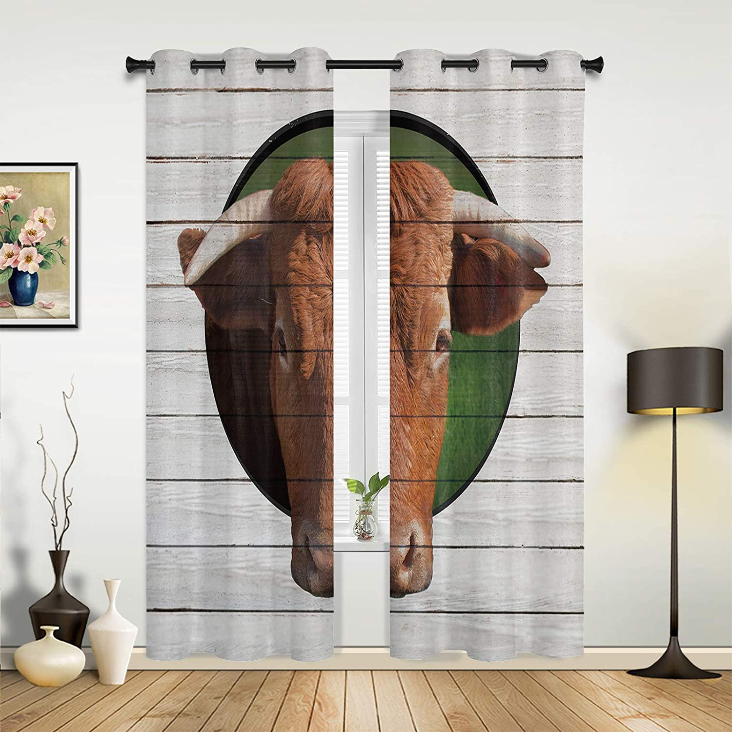 Window Sheer Curtains for Bedroom Living Funny Room San OFFicial mail order Diego Mall Ani Cow Farm