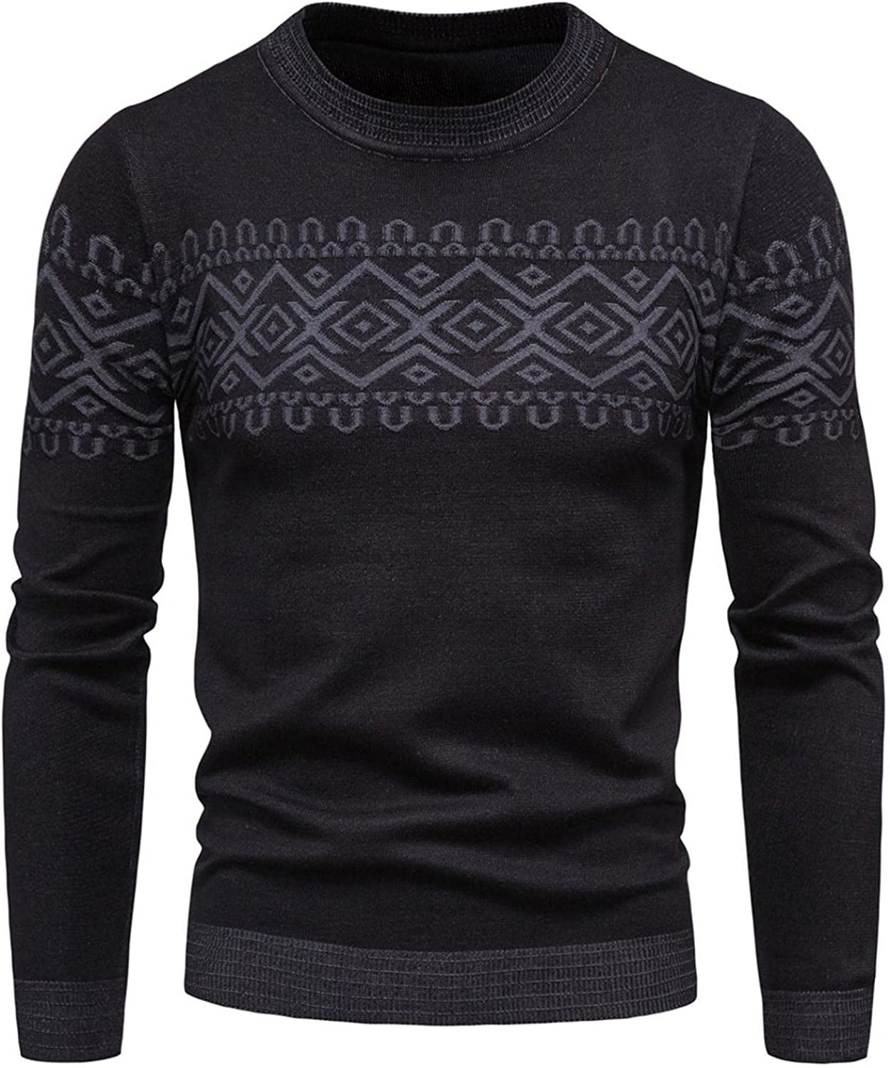 Men Sweaters Autumn Winter Round Neck Sweater Knitted Pattern Sweater Pullover Top,Soft Cotton Pullover Sweater