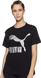 PUMA Women's Classics Logo TEE, Cotton Black/Metal, S