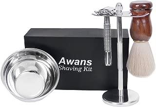 Awans Men Shaving Kit,Double Edge Shaving Razors,Shaving Stand,Shaving Bowl,4 in 1 Wet Shaving Set,The Best Shave Of your life
