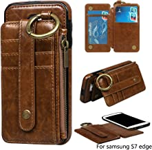 Posher Premium PU Leather Magnetic Detachable Phone Case Carrying Bag Purse with Card Slots and Keychain Ring for Samsung Galaxy S7 Edge