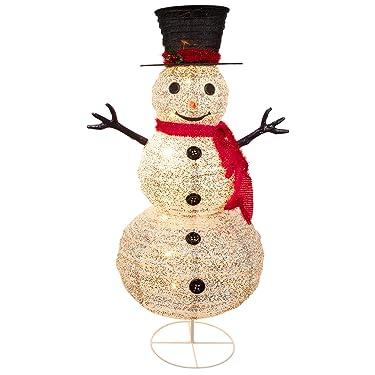 Muñeco de nieve iluminado al aire libre decoraciones de Navidad, muñeco de nieve blanco con tapa superior y 8 bombillas integradas, muñeco de nieve plegable para el hogar, jardín, jardín, decoración comercial de Navidad, 4 pies