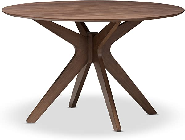 Baxton Studio Lyla Mid Century Modern Walnut Wood 47 Inch Round Dining Table Walnut Brown