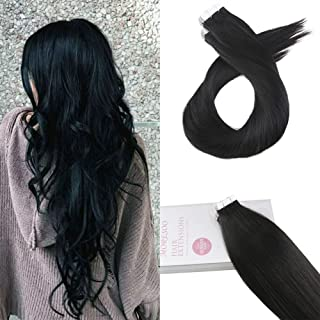 Moresoo 16 Inch Invisible Tape in Extensions Remy Human Hair Jet Black #1 Color 20pcs/50g Human Hair Extensions Real Tape on Hair Seamless Human Hair