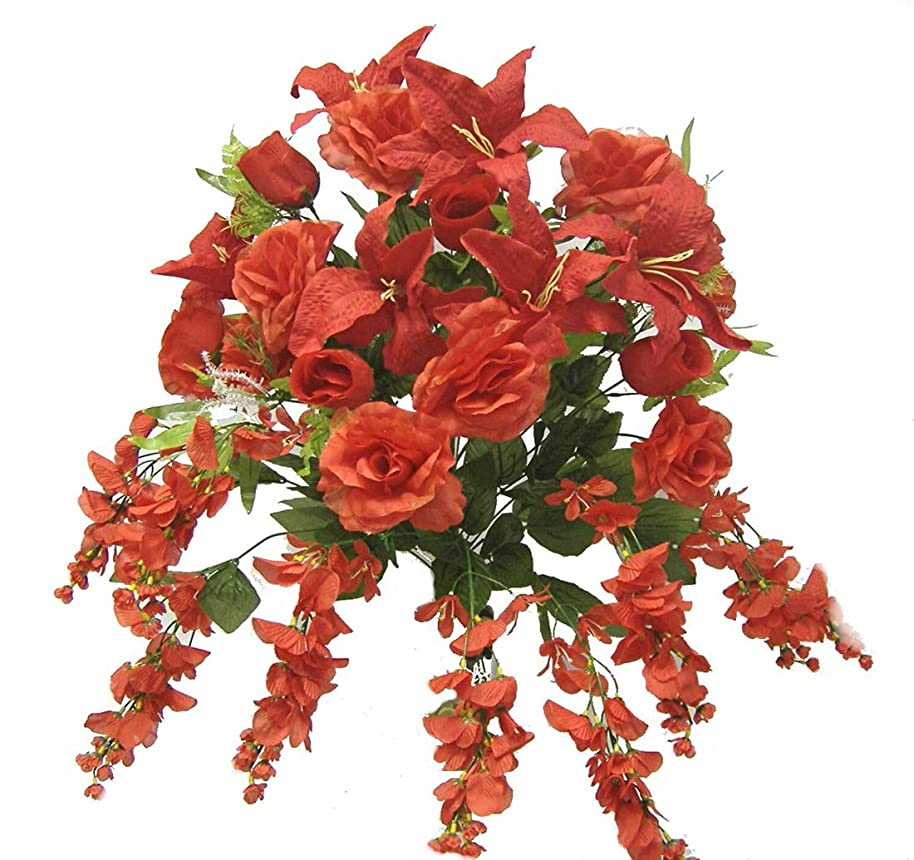 Boomer888 Large Centerpieces Red Lilies Arch Gazebo Silk Wedding Artificial Flowers 29 inch Tall Mixed Floral Long Stem Roses Tiger Lilies Home DIY Craft Decoration